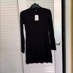 Black long sleeve keyhole ribbed Dress Medium